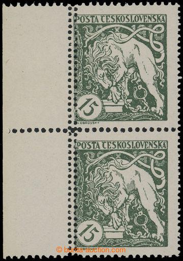 211999 -  Pof.27B VV, Lev trhající okovy 15h zelená, svislá krajo
