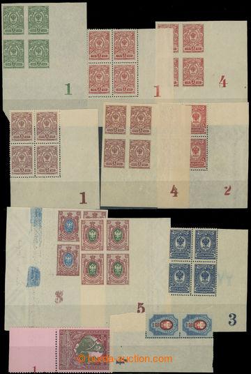 212050 - 1908- DESKOVÁ ČÍSLA / partie 10 rohových 4-bloků, 1x 2-