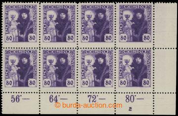 212069 -  Pof.162, 80h fialová, pravý dolní rohový 8-blok s počitadly