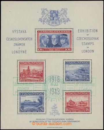 212075 - 1943 AS1, Londýnský aršík s otiskem zeleného PR VÝSTAV