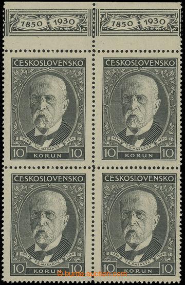 212099 - 1930 Pof.264KH, 80. narozeniny TGM, hodnota 10Kč ve 4-bloku