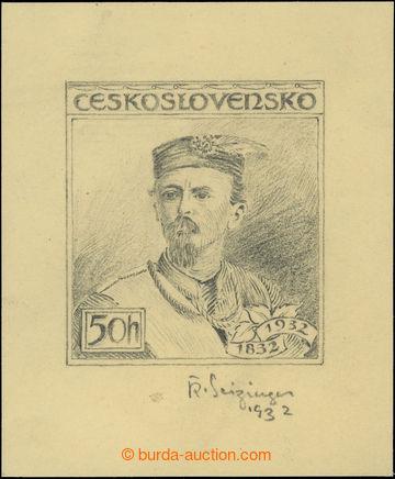 212108 - 1932 NÁVRH / kresba tužkou návrhu na zn. Tyrš 50h, Pof.2