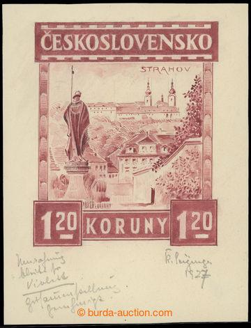 212124 - 1926 NÁVRH / KOMBINOVANÁ KRESBA pro známku Strahov 1,20K�