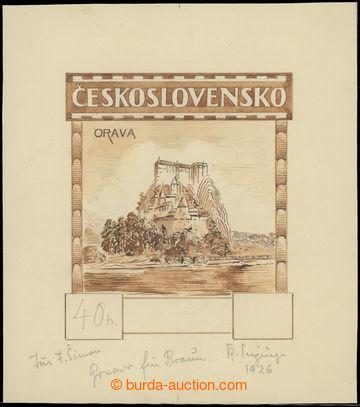 212125 - 1926 KOMBINOVANÁ KRESBA pro známku emise Hrady, krajiny, m