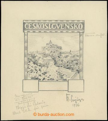 212127 - 1926 KRESBA TUŽKOU návrh na zn. Hrady krajiny, města, Per