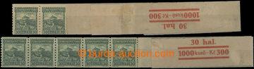 212136 - 1926 Pof.210A, Pernštejn 30h zelená svitková, sestava 2ks ko