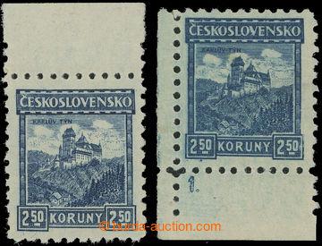 212158 - 1926 Pof.222, Karlštejn 2.50Kč modrá bez průsvitky, kraj