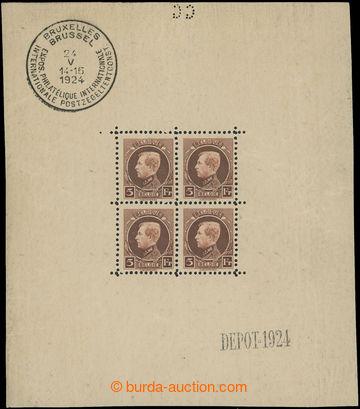 212286 - 1924 Mi.186Klb., Albert I. 5Fr v aršíkové úpravě, jako vždy