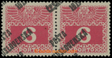 212353 -  Pof.67, Large numerals 6h red, horizontal pair with signifi