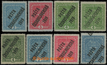 212355 -  sestava 8 známek, 2K světle modrá - 2ks, 1x s výrazným posu