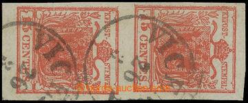 212422 - 1850 Ferch.3XIIa+I, svislá (!) 2-páska Znak 15Cts, tmavě rum