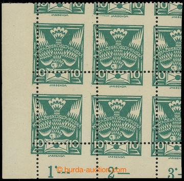 212479 -  Pof.145A VV, 10h zelená, levý dolní rohový 4-blok s výrazný