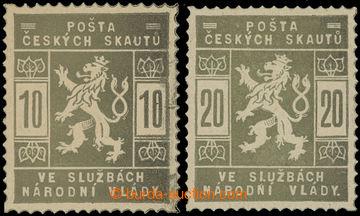 212537 -  ZT  hodnot 10h a 20h, obě zn. v olivové barvě; svěží,