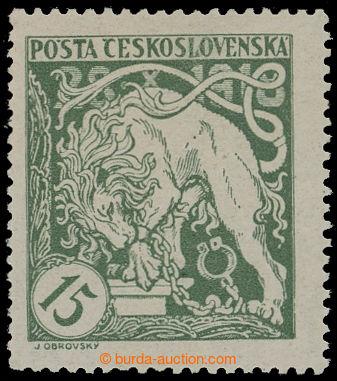 212582 -  Pof.27Aa, Lev trhající okovy 15h světle zelená, HZ 13½