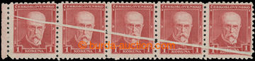 212753 - 1930 Pof.260VV, TGM 1Kč červená, vodorovná 5-páska s VV