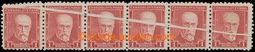 212754 - 1930 Pof.260VV, TGM 1Kč červená, vodorovná 6-páska s VV