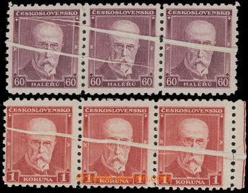 212755 - 1930 Pof.259VV, 260VV, TGM 60h fialová a 1Kč červená, vo