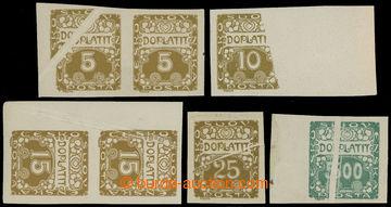212758 - 1919 Pof.DL1-DL3 VV, DL5VV, DL12VV, sestava 5 hodnot 5h, 10h