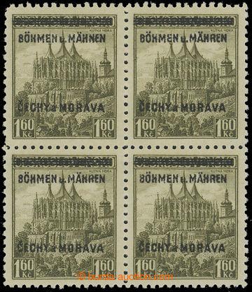212836 - 1939 Pof.13 DV, Kutná Hora 1,60Kč žlutozelená, 4-blok s DV p