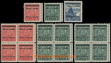 212837 - 1939 Pof.3-4 DV, Znak 20h a 25h, 3x samostatná zn. a 3x 4-bl