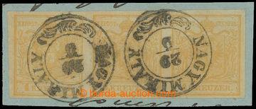 212933 - 1850 Ferch.1HIa, vodorovná 3-páska Znak 1Kr okrová Ia typ