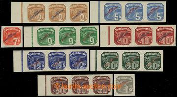 213049 - 1939 Sy.NV1-9, Novinové s přetiskem, hodnoty 2h-1Kč s př