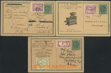 213093 - 1919 CPŘ3 + CPŘ3Pa, sestava 3ks rakouských dopisnic 8h Karel