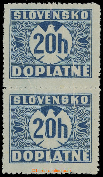 213102 - 1939 Sy.D3Xz VV, I. vydání 20h modrá, hladký lep, svisl�