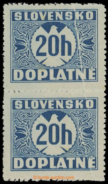 213103 - 1939 Sy.D3Xz VV, I. vydání 20h modrá, hladký lep, svisl�