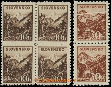 213142 - 1940 Sy.48 VV+ 51 VV, Tatranské I. 10h bez průsvitky, 4-bl
