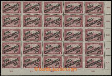 213212 -  Pof.114, 1K červená, pravý dolní rohový 25-blok s poč