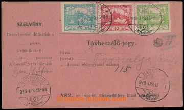 213216 - 1919 celý uherský formulář Távbeszélö - jegy / Telefo