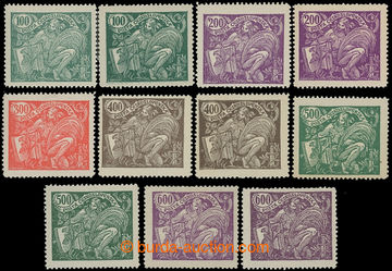 213238 -  Pof.164A-169A, sestava 11 zn., kompletní řada + různé odstí