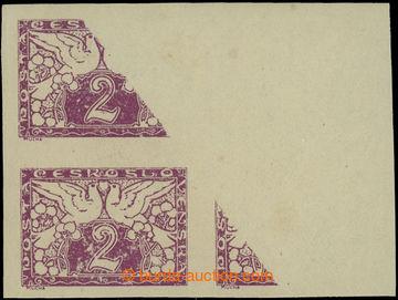 213250 - 1919 Pof.S1, 2h červenofialová, 4-blok s nedotiskem z pře