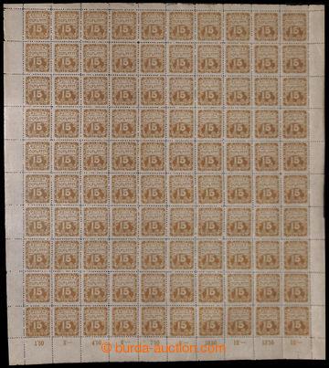 213339 - 1919 Pof.DL3, Ornament 15h hnědoolivová, kompletní 100ks arc