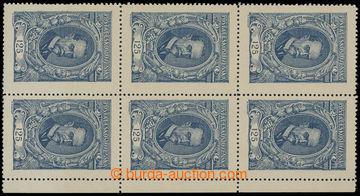 213406 -  Pof.140 ST, 125h modrá, pravý krajový 6-blok s 3x spojen