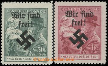 213490 - 1939 MÄHRISCH OSTRAU / Mi.28-29, WIR SIND FREI na zn. Masary