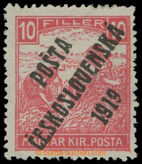 213563 -  Pof.99, Ženci - bílé číslice 10f červená, III. typ přetisku