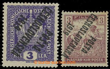 213565 -  Pof.33Pp, Koruna 3h fialová, převrácený přetisk I. typu, po