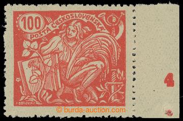 213568 -  Pof.173B, 100h červená, pravý krajový kus s DČ 4, III.