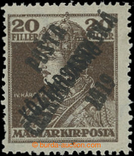 213582 -  NEVYDANÁ  Karel 20f hnědá s přetiskem Köztársaság a přetisk