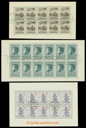 213594 - 1951-1979 comp. 3 pcs of blk-of-10 with machine postmark, 1x