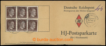 213609 - 1944 Postsparkarte, used spořící book Hitler-Jugend, skar