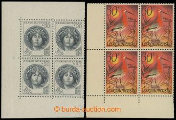 213616 - 1953-1967 sestava 2ks 4-bloků se spojenými typy, 1x Pof.757,