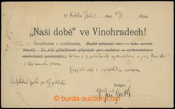 213628 - 1894 GUTH-JARKOVSKÝ Jiří Stanislav (1861–1943), vlastn�