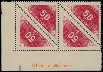 213658 - 1934 Pof.DR2B, 50h červená, levý dolní 4-blok s celým DČ 1 (