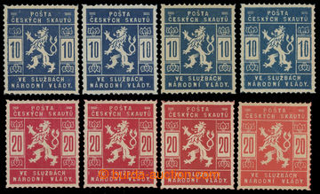 213659 - 1918 Pof.SK1-SK2, 10h modrá a 20h červená, sestava 4ks ka