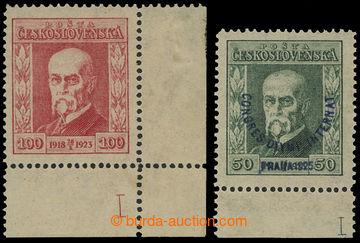 213681 - 1923-1925 Pof.177, 180 DČ, Jubilejní 100h červená, levý doln