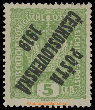 213688 -  Pof.34 Pp, Koruna 5h světle zelená, převrácený přetisk; svě