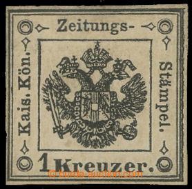 213773 - 1858 Novinové - Sass.2, Znak 1Kr černá, pěkný kus s původním